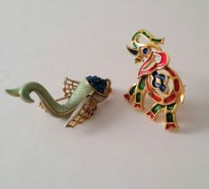 Crown Trifari Alfred Philippe Elephant and WEISS Fish Brooches