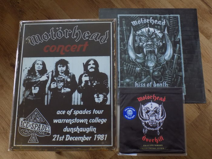 "Motorhead "" Ace Of Spades "" large metal concert sign , "" Kiss Of Death "" LP & "" Overkill "" exclusive version blue vinyl 7"" single."