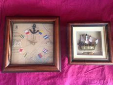 Two Maritime artworks with Clock and Galeon