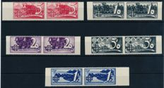 Austria - 1938 - 'so-called Schuschnigg vignettes' two complete sets in pair partial perforate