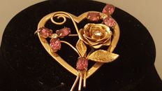 Coro vintage heart shaped brooch New York 1950-1955