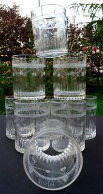 Baccarat Harcourt - Set of 9 pieces made of cut glass with engravings