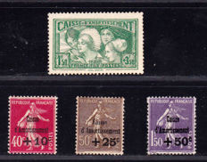 France 1930 – Selection of 4 Caisse d'Amortissement stamps – Yvert no. 266, 267, 268, 269.