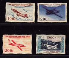 France 1954 – Selection of 4 Airmail stamps – Yvert no. 30, 31, 32, 33.