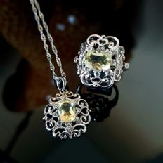 Antique jewellery set with antique cut lemon citrine