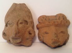 Pre-Columbian pottery heads - Mexico - 4,5 and 3,5 cm