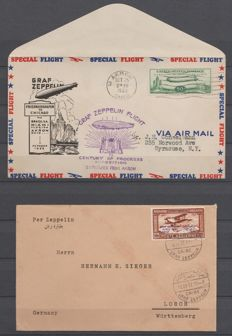 USA and Egypte 1931/1933 - Letters with Airmail Graf Zeppelin - Michel 243A + 105AY