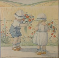 "School poster for the lowest classes SUMMER. ""picking flowers"" drawn by B. Midderigh-Bokhorst. Lithography on thick paper with passe-partout."