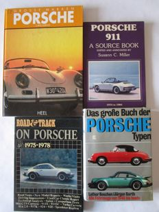 Lot with 4 books: 1. Porsche 911 a Source Book, 2.  Porsche das Typen Buch, 3. Road and Track on Porsche, 4.  Porsche grosse Marken