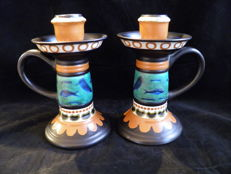 Plateelbakkerij Zuid-Holland - Set of large candle holders with ethnic animal depictions