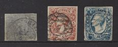 German States Prussia and Saxony 1856/1866 - Michel 21 Prussia and 12/13 Saxony
