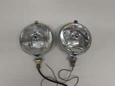 A Pair of Chrome 1950's Lucas Matching SFT 576 One Spot light and One Fog light in Excellent Used Vintage Condition