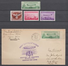 USA, German Reich and Liechtenstein 1933 - Selection Airmail and letter Zeppelin