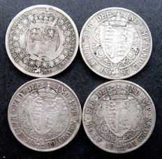 United Kingdom - ½ Crown 1887, 1897, 1899 and 1901 Victoria (4 pieces) - silver