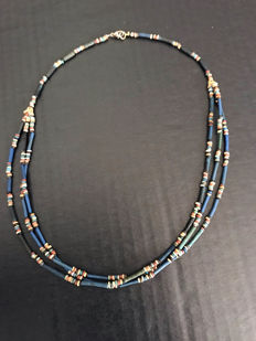 Ancient Egyptian mummy beads 3 strands necklace - 18 Inches