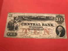 USA - 10 dollars from the central bank of Alabama in Montgomery in 1849