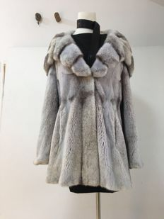 Grey blue cross - pattern - mink fur coat