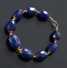 Sapphire bracelet with 14 kt Gold clasp - Faceted beads - 21.8 cm - 170 ct