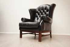 Large model Chesterfield wing armchair, late 20th century