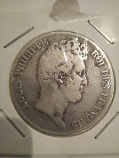 France - 5 Francs 1830 W - Louis Philippe (bareheaded variety without the 'I') - silver