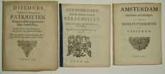Three pamphlets on the 'swevende verschillen' in the State and in Amsterdam - 1684