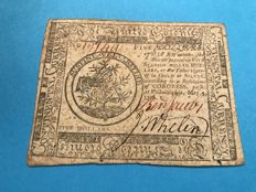 USA - Continental currency - 5 dollars Philadelphia May. 9.1776 The United Colonies