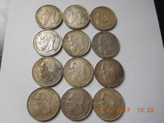 Belgium - 5 Francs 1868, 1869, 1870 and 1873 Leopold II - 12 coins - silver