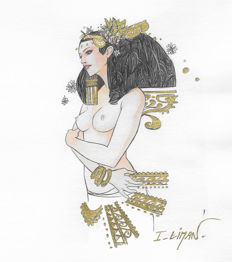 Liman, Ingrid - Original drawing with gold leaf - Naked Egyptian woman