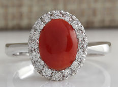 1.60 Carat Coral 14K Solid White Gold Diamond Ring - Ring Size: 7 ** Free shipping *** No reserve *** Free resizing ***
