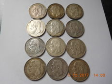 Belgium - 5 francs 1870 and 1873, Leopold II - 12 coins - silver