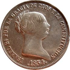 Spain - Isabel II (1833 - 1868), 20 silver real coins. Madrid, 1854.