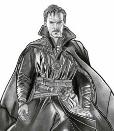 Diego Septiembre - Original Charcoal And Graphite Drawing - Doctor Strange