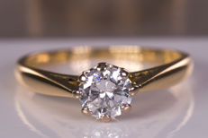 0.57 Ct solitaire diamond ring -  VS2 / G color - NO Reserve price!