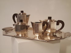 Durousseau & Raynaud - Silver plated Art Deco tea and coffee set on a tray