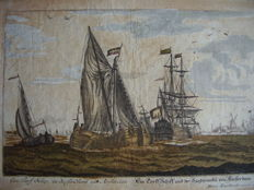 Martin Engelbrecht (1684-1756) - Een Turf Schip en de Sandhoek van Amsterdam - First of the 18th century