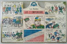 "1914-1918 war. Rare block of 12 framed postcards forming an illustrated calendar of 1915: ""the two emperors"". (1915)"