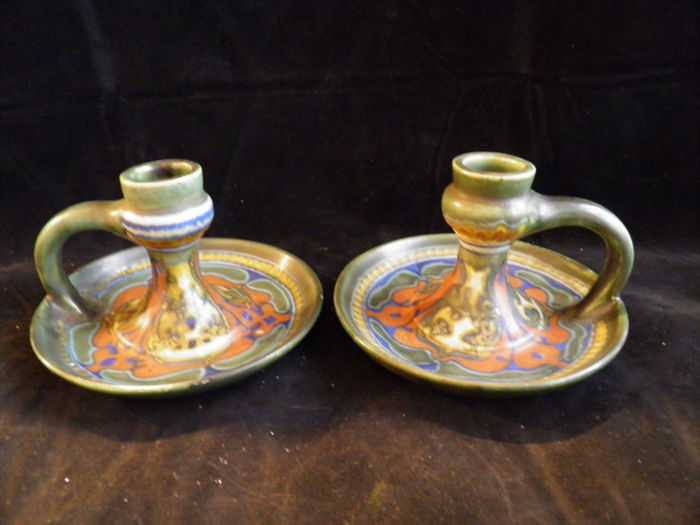 Plateelbakkerij Zuid-Holland - Set of candlesticks decor Suled