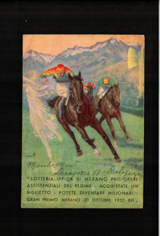 Italia - 1935 - Postcard of the Merano horse racing lottery