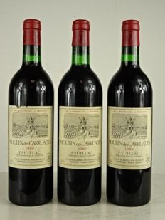 1980 Moulin des Carruades (2nd wine Ch. Lafite Rothschild) Pauillac - three bottles