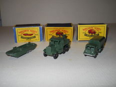 Moko Lesney Matchbox - Scale 1/76 - D.U.K.W. No. 55a, General Service Truck No. 62a and Scammell Break-Down Truck No. 64a