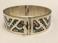 925 silver bracelet with mother of pearl inlay - Taxco Mexico