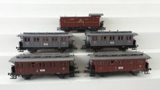 Roco H0 - 4209/4229/4210 - set of 5 carriages 3rd, 4th class and luggage carriage of the KPEV