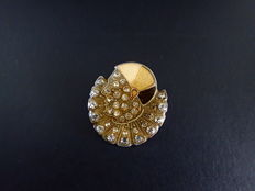 Beautiful heavy Art Deco brooch of a Pierrot, set with Enamel and Rhinestone stones.