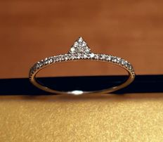 Delicate Meira Tugendhaft Gold Diamond Triangle Ring - 0.18ct, Size: 12.5 (EU) - M (UK) - 6 1/4 (US)