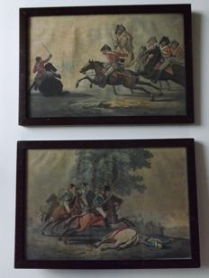 Two hand coloured lithographic prints with scenes of Napoleonic battles - France - Late 19th century