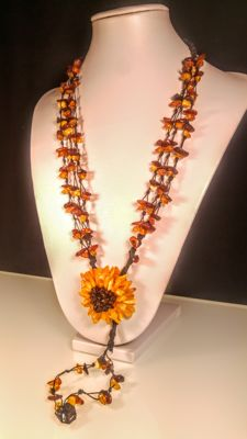 Mix colour beads 100% Genuine Baltic Amber necklace with Flower pendant, length 61 cm, 37 grams