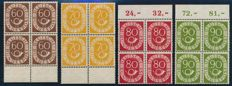 "Federal Republic of Germany – 1951 – ""Numeral with mail horn"" in MNH edge block of 4 with photographic certificate Schlegel"