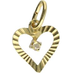 14 kt - Yellow gold pendant in the shape of a heart set with 1 diamond of 0.005 ct - length x width: 1.4 x 0.8 cm