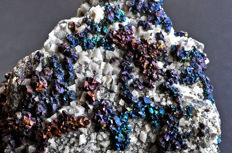 Iridescent Chalcopyrite crystals on matrix - 13.9 X 9.6 X 7.2 cm - 946 gm