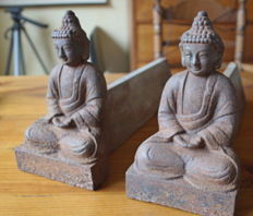 Cast iron wood blocks with Buddhas - Late 20th century
